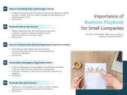 Importance Of Business Playbook For Small Companies