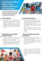 Importance Of Code Of Ethics In Early Childhood Education One Page Report Report Infographic PPT PDF Document