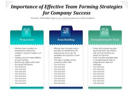 Importance Of Effective Team Forming Strategies For Company Success