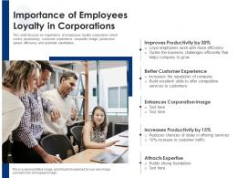 Importance Of Employees Loyalty In Corporations