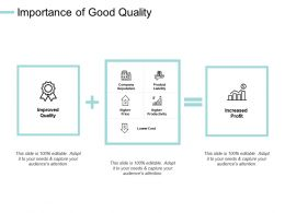 Importance Of Good Quality Company Reputation Improved Quality Ppt Powerpoint Presentation Summary Smartart