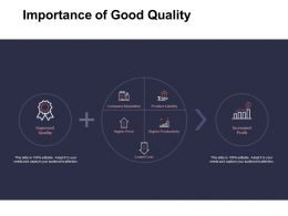 Importance Of Good Quality Company Reputation Ppt Powerpoint Presentation Ideas Infographics