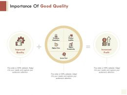 Importance Of Good Quality Improved Quality Product Liability Ppt Powerpoint Presentation Gallery Samples