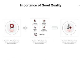 Importance Of Good Quality Lower Cost Ppt Powerpoint Presentation Slides