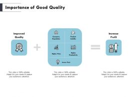 Importance Of Good Quality Quality Ppt Powerpoint Presentation Pictures Outline