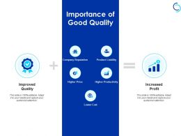 Importance Of Good Quality Reputation Price Ppt Powerpoint Presentation Portfolio Aids