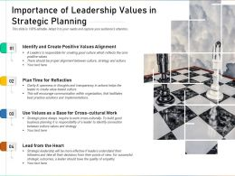 Importance Of Leadership Values In Strategic Planning