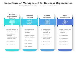 Importance Of Management For Business Organization