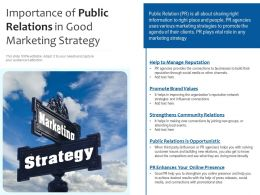 Importance Of Public Relations In Good Marketing Strategy