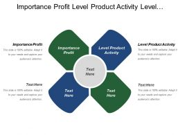 Importance Profit Level Product Activity Level Marketing Focus