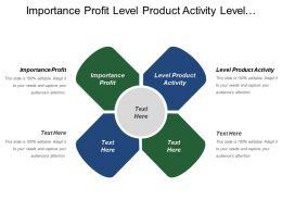 Importance Profit Level Product Activity Level Marketing Focus