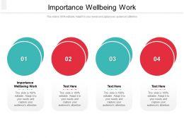Importance Wellbeing Work Ppt Powerpoint Presentation Slides Smartart Cpb