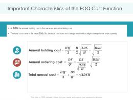 Important Characteristics Of The EOQ Cost Function Planning Forecasting Supply Chain Management Ppt Ideas