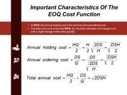 Important Characteristics Of The Eoq Cost Function Powerpoint Slide Designs
