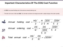 Important Characteristics Of The Eoq Cost Function Presentation Images