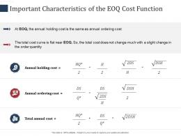Important Characteristics Of The EOQ Cost Function SCM Performance Measures Ppt Icon