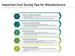 Important Cost Saving Tips For Manufacturers