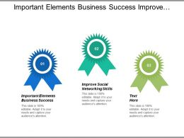 Important Elements Business Success Improve Social Networking Skills Cpb