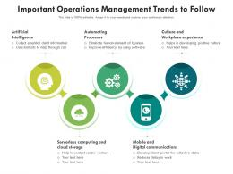 Important Operations Management Trends To Follow
