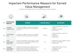 Important Performance Measure For Earned Value Management