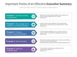 Important Points Of An Effective Executive Summary
