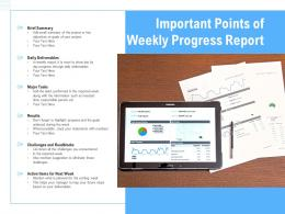 Important Points Of Weekly Progress Report