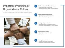 Important Principles Of Organizational Culture