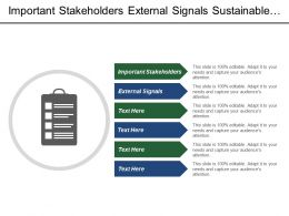 Important Stakeholders External Signals Sustainable Innovation Energy Efficiency Building
