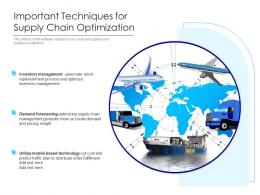 Important Techniques For Supply Chain Optimization