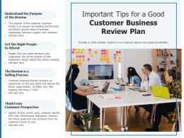 Important Tips For A Good Customer Business Review Plan