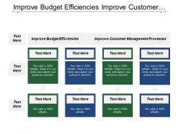 Improve Budget Efficiencies Improve Customer Management Processes Service Excellence