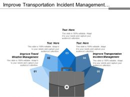 Improve Transportation Incident Management Improve Travel Weather Management
