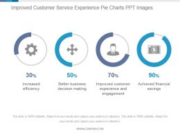 Improved Customer Service Experience Pie Charts Ppt Images