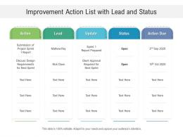 Improvement Action List With Lead And Status