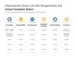 Improvement Action List With Responsibility And Actual Complete Status