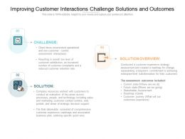 Improving Customer Interactions Challenge Solutions And Outcomes