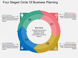 in Four Staged Circle Of Business Planning Flat Powerpoint Design