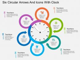 In Six Circular Arrows And Icons With Clock Flat Powerpoint Design