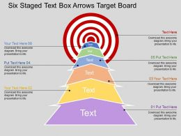 in_six_staged_text_box_arrows_target_board_flat_powerpoint_design_Slide01