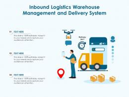 Inbound Logistics Warehouse Management And Delivery System