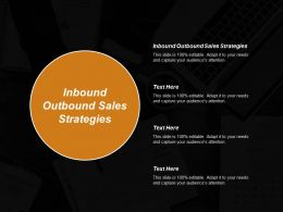 Inbound Outbound Sales Strategies Ppt Powerpoint Presentation Gallery Icons Cpb