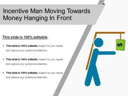 Incentive Man Moving Towards Money Hanging In Front