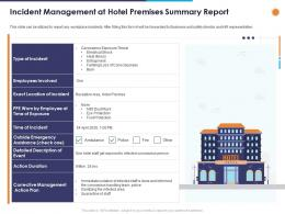 Incident Management At Hotel Premises Summary Report Ppt Powerpoint Presentation Slides