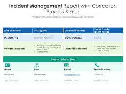 Incident Management Report With Correction Process Status