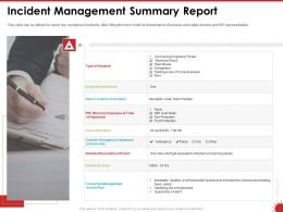 Incident Management Summary Report Incident Ppt Powerpoint Presentation Diagram