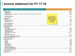 Income Statement For Fy 17 18 Ppt Powerpoint Presentation File Example