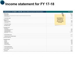 Income Statement For Fy 17 To 18 Ppt Powerpoint Presentation Slides