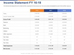 Income Statement FY 16 To18 Ppt Powerpoint Presentation Pictures Clipart Images