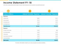 Income Statement Fy 18 Expense Ppt Powerpoint Presentation Pictures Smartart