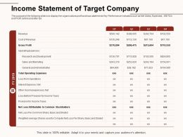 Income Statement Of Target Company Common Stockholders Ppt Powerpoint Presentation Gallery Background